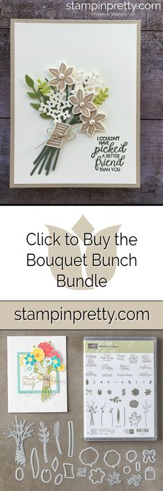 Click to buy the Stampin' Up! Bundle Bouquet Bunch Online from Mary Fish, Stampin' Pretty.  Used to create a handmade friendship card.  #maryfish #stampinpretty