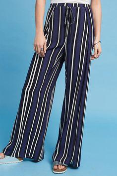 Navy wide-leg, high-waist pants from Anthropologie