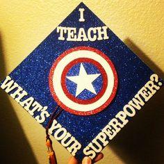 I finally finished my Captain America graduation cap!