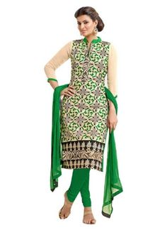 Green Black Print Lace Border Chanderi Cottan Party Wear Churidar Salwar Kameez #Anarkali #Churidar #Pakistani #Suit #Salwar #Bollywood http://www.angelnx.com/Salwar-Kameez