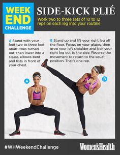Side-Kick Plié: Talk about a great all-in-one move: This body-weight exercise helps improve balance while it builds strength, flexibility, and stamina.  REPIN IF YOU'RE IN!  http://www.womenshealthmag.com/fitness/weekend-challenge-side-kick-plie?cm_mmc=Pinterest-_-womenshealth-_-content-fitness-_-sidekickplie  #WHWeekendChallenge