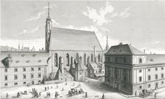 The old city hospital, with the Kartnertor theater at right City Hospital, Old City, Vienna, 18th Century, Theater, Old Things, History, Painting, Old Town