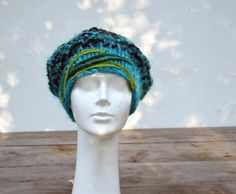 Winter woman hat slouch warm hand knitted big beret by ZOJKAshop