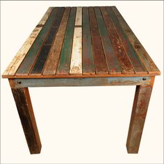 Distressed Wood Furniture | ... Reclaimed Wood Distressed Dining Table Furniture for 8 People | eBay