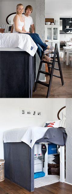 DIY high bed - Een hoogslaper is een slimme oplossing als je weinig ruimte hebt. Kijk op www.101woonideeen.nl