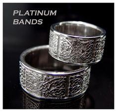 Custom order platinum bands.Celtic knots design.