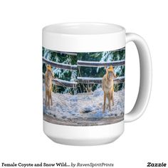 Female Coyote and Snow Wildlife Nature Coffee Mug