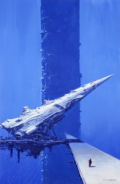 """Cygnus"" by Les Edwards. Acrylics on board."