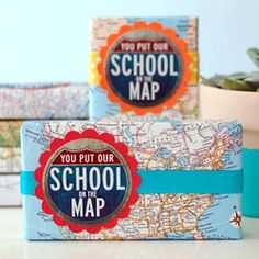 Show your favorite teacher the love with this FREE printable, and clever diy using vintage map pages.