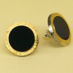 Vintage 1940s Black and Gold Glass Button Post Earrings