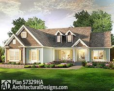 Country Ranch House Plan 57329HA The master bedroom is private with a coffered ceiling. The great room is open to the kitchen and has a vaulted ceiling. All just under 2,000 square feet.