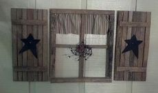 Rustic Country Window from Tobacco Sticks with Pip Berries and Stars