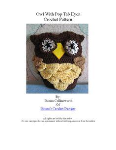Crochet Pattern Pop Tab Owl Toy Pillow in PDF w Photo Tutorial $3.99