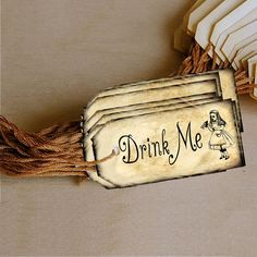 Alice In Wonderland Drink Me Printable PDF Labels (Version 2) - 24 per page! Perfect for birthday parties and baby showers!