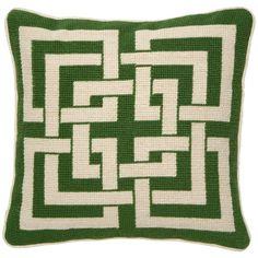 FR throw pillow idea - Trina Turk Shanghai Links Green Needlepoint Pillow