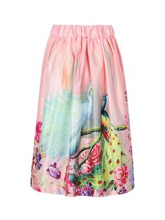 Pink Peacock Print Ruffle Midi Skirt