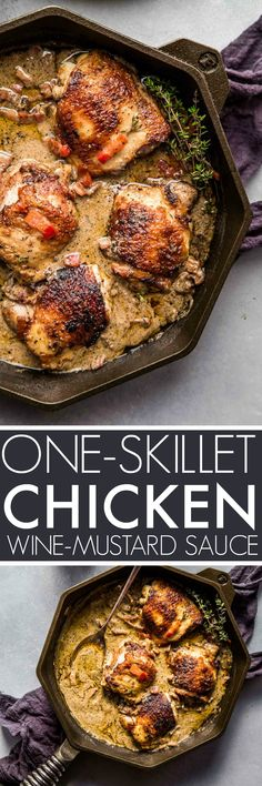This One Skillet Chicken with White Wine & Mustard Cream Sauce cooks in or less - Making it perfect for quick and easy weeknight dinners! One Skillet Meals, One Pot Meals, Skillet Chicken, Baked Whole Chicken Recipes, Chicken Wing Recipes, Chicken Wine, Mustard Cream Sauce, Cast Iron Recipes, Easy Dinner Recipes