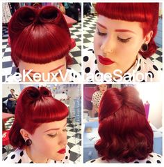Classic Victory Rolls and Bettie Bangs in vibrant bright red mid length hair (with pin curl set)  Vintage hair and make up by Le Keux Vintage Salon  Bridal, special occasions, prom, hen parties. Available nationwide, UK.  Www.lekeuxvintagesalon.co.uk.