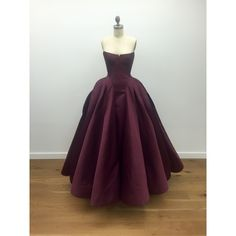 Zac Posen Duchess Satin Architectural Bustier Ball Gown ($11,990) ❤ liked on Polyvore featuring dresses, gowns, strapless bustier dress, purple evening dresses, bustier dress, pleated dress and strapless bustier