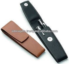 ADALPC - 0046 cheap pen cases with press button lock / hot selling custom-made pen cases / real leather pen cases $1.65~$4.50