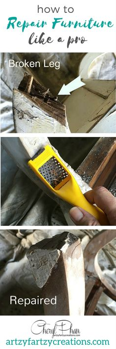 How to repair furniture like a pro! These detailed steps will help you fix furniture legs when flipping and painting furniture. Along with how to remove paint and transfer images. Furniture tips by Cheryl Phan of ArtzyFartzyCreations.com