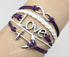 Silvery infinity love anchor bracelet,purple wax rope woven rope fashion jewelry
