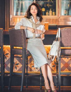 office style, striped skirt