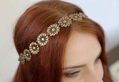 bridal wedding headband flower chamomile rim hair por ScythianAge