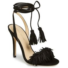 "Ivanka Trump 'Hettie' Fringe & Tassel Sandal, 4 3/4"" heel ($145) ❤ liked on Polyvore featuring shoes, sandals, black suede, fringe high heel sandals, ivanka trump sandals, leather ankle strap sandals, ankle tie sandals and wrap sandals"