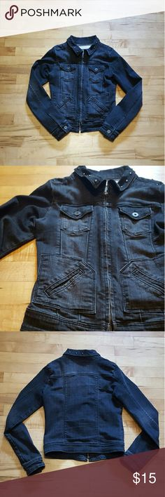Jean Jacket Dark wash jean jacket. Studs on the collar. On the shoulders, cuffs, and collar ruffed fabric. Two pockets on the chest and two pockets at the side. Says size small but fits xsmall far better. Jackets & Coats Jean Jackets