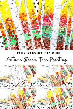 Our Autumn birch tree painting for kids will help children to explore color, texture and contrast, encourage them to observe the details to be found in nature and inspire their creativity. A fun Autumn paint along for kids, that can be completed with how to draw guides and a pre-drawn birch tree template. Flow Art for Kids | Easy Drawings for Kids | Easy Fall Crafts for Kids Autumn | Fall Tree Painting for Kids | Fall Tree Crafts for Kids | Tree Art Projects #KidsCrafts #FlowArt #ArtyCraftyKids