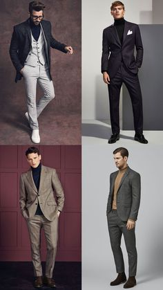 How to wear a roll or turtle neck with a suit or blazer Big Men Fashion, Mens Fashion Suits, Men's Fashion, Turtleneck Suit, Formal Men Outfit, Men Formal, Turtle Neck Men, Madrid, Mens Fashion Sweaters