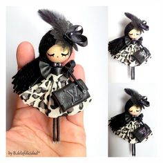 Best 12 Doll brooch by AlexandraStanShop on Etsy - Her Crochet Tiny Dolls, Ooak Dolls, Doll Crafts, Bead Crafts, Clothespin Dolls, Flower Fairies, Wooden Dolls, Felt Dolls, Fabric Dolls