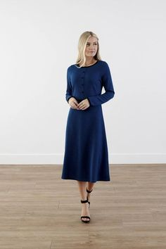 Modest Clothing, Teal A-Line Dress, Modest Clothes