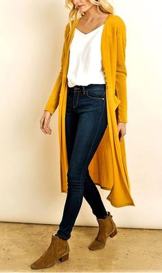 Style Maiden Lane Duster Cardigan - La BellaVida Women's Clothing - Today's Fashions Today's women's Fall Winter Outfits, Autumn Winter Fashion, Spring Outfits, Mode Outfits, Casual Outfits, Fashion Outfits, Yellow Cardigan Outfits, Mustard Cardigan Outfit, Winter Cardigan Outfit