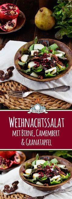 Weihnachtssalat mit Birne, Granatapfel & Camembert