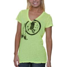 Washington Redskins Touch by Alyssa Milano Women's Look At Me Burnout T-Shirt – Neon Green