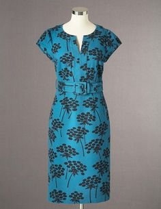 Boden Notch-Neck Shift - I already have the sleeveless version of this dress in navy and tan but like this colour and print, plus the self-fabric belt.