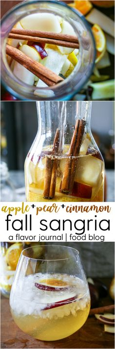 cinnamon, pears, apples, citrus, and white wine make up this sweet and autumn-inspired fall sangria! fall sangria | a flavor journal food blog