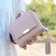 Frauen kurze brieftasche kleine quaste handtasche weibliche reißverschluss mini frauen geldbörse marke ausgelegt dame schlüsselmappe