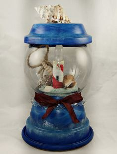 Hand Painted Terra Cotta Lighthouse Night Light Part of Sales Proceeds Supports Animal Rescue Charity by PaintYourPoochand, $25.00