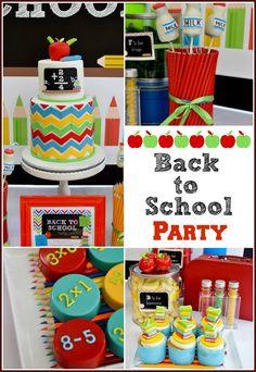 Chevron #BacktoSchoolParty- http://atozebracelebrations.com/2014/07/chevron-back-to-school-party.html