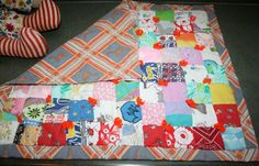 Small Handmade Doll Baby Patchwork Quilt by AstridsPastTimes