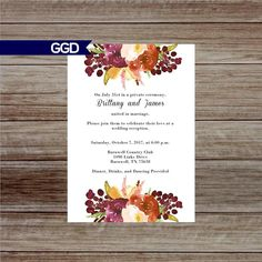 Items similar to Autumn Bridal Shower Invitation with Flowers, flower bridal shower Invitation, fall bridal shower invite, fall flower bridal shower on Etsy Fall Wedding Flowers, Fall Flowers, Autumn Wedding, Wedding Reception Invitations, Bridal Shower Invitations, Printable Invitations, Newlyweds, My Etsy Shop, Marriage