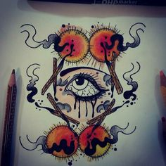 #fire #psycho #mad #eye #match #crying #tattoo #ink #neotraditional #hate