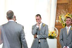 Groom reaction :) Wedding, groom crying, walking down the aisle