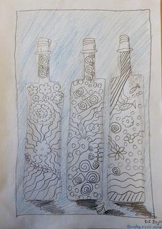 Drei Flaschen gedoodelt - gefüllt mit Fantasie von Elif