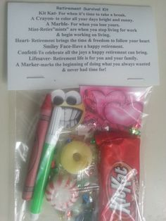 """Retirement Survival Kit – With definition of items inside. This is a """"Retirement Survival"""" Kit! Fun Kit for Retirement - 9 items inside with love meanings."""