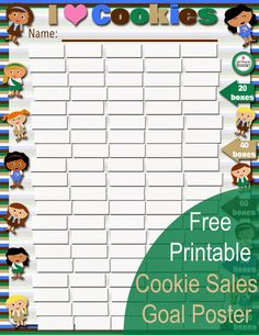 Fashionable Moms: Free Printable NEW Cookie Sales Goal Poster