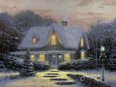 His Christmas paintings make me ache for the winters growing up with the Christmas lights reflecting off the snow.....sigh~